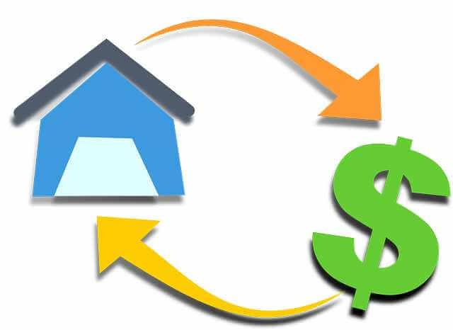 как работает ипотека, дом деньги,ипотека, все указано стрелочками