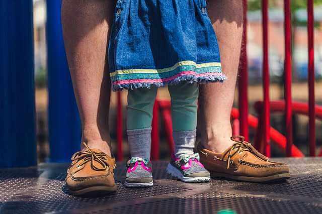 Выделение долей детям при ипотеке, ноги ребенка и папы