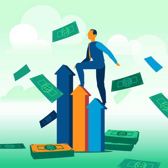 Как проходит сделка по ипотеке , человек поднимается в верх по стрелкам а вокруг летят деньги