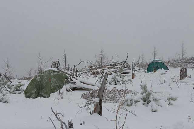Ипотека Сбербанка для дальневосточников, стоят палатки засыпанные снегом на фоне вырубленного леса.